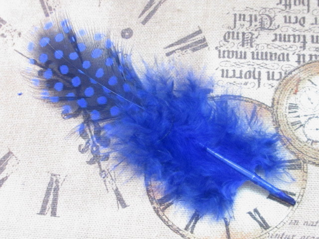 画像1: 【約10枚入り】染色ホロホロフェザー/ロイヤルブルー (1)