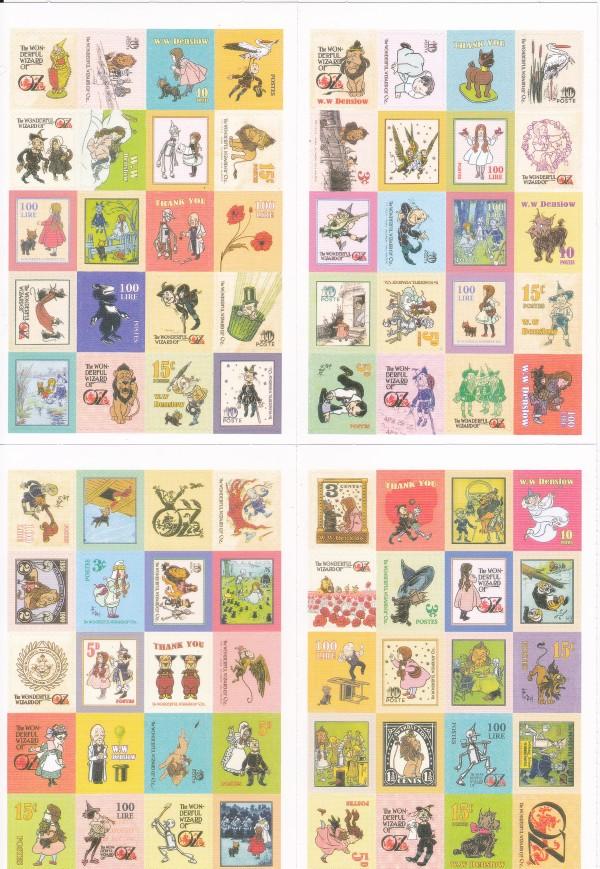 画像1: 紙製切手風シール/オズの魔法使い/4シート80枚セット (1)