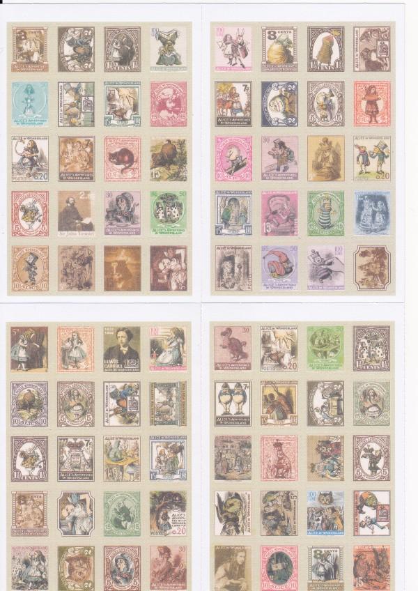 画像1: 紙製切手風シール/不思議の国のアリス/4シート80枚セット (1)