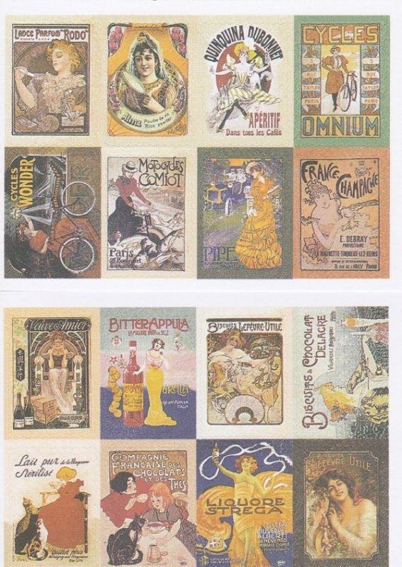 画像1: 紙製切手風シール/ガールズポスター/2シート16枚セット (1)