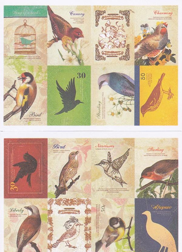 画像1: 紙製切手風シール/バード/2シート16枚セット (1)