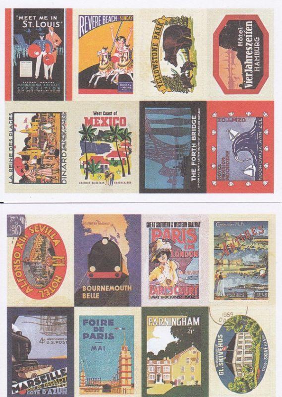 画像1: 紙製切手風シール/トラベル/2シート16枚セット (1)