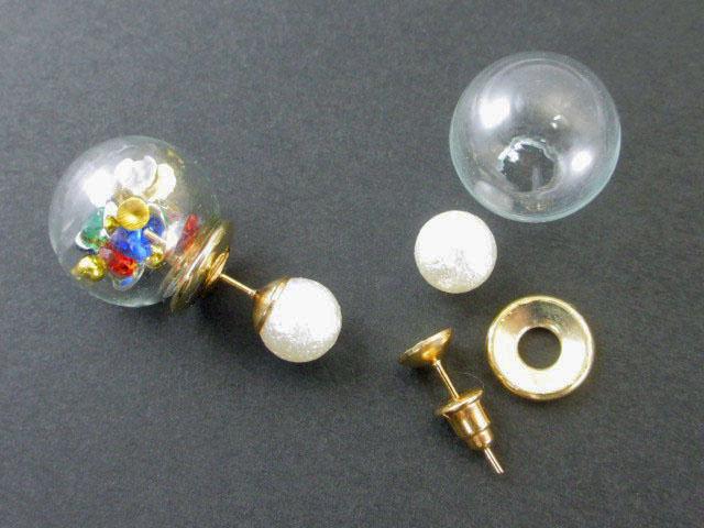 画像1: グラスボールのキャッチピアス製作セット(1ペア)/ゴールド (1)