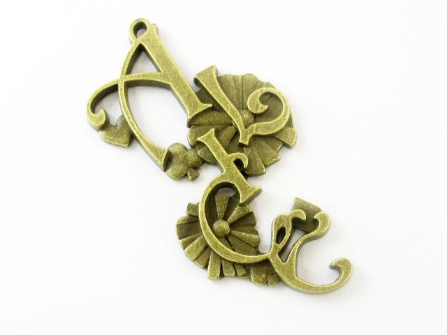 画像1: チャーム/「ALICE」ロゴ/真鍮古美 (1)