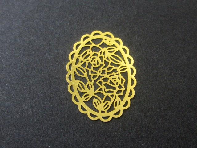 画像1: 【2枚入り】銅製メタルパーツ/オーバルローズ/ゴールド (1)