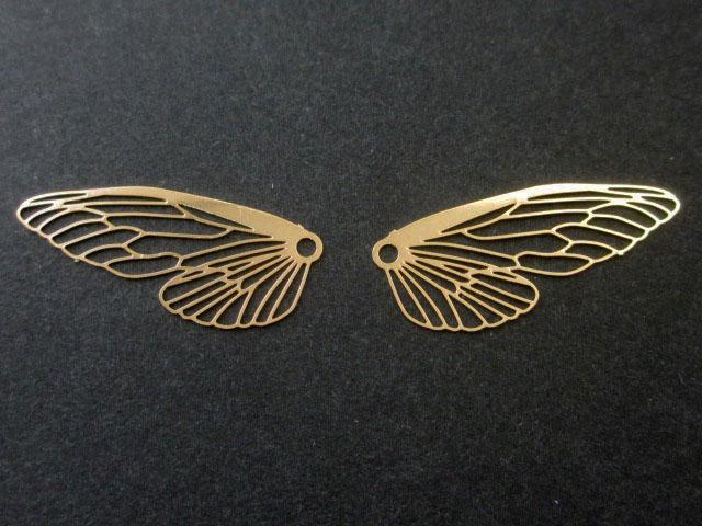 画像1: 【4枚入り】銅製メタルパーツ/蝶々羽/ゴールド (1)