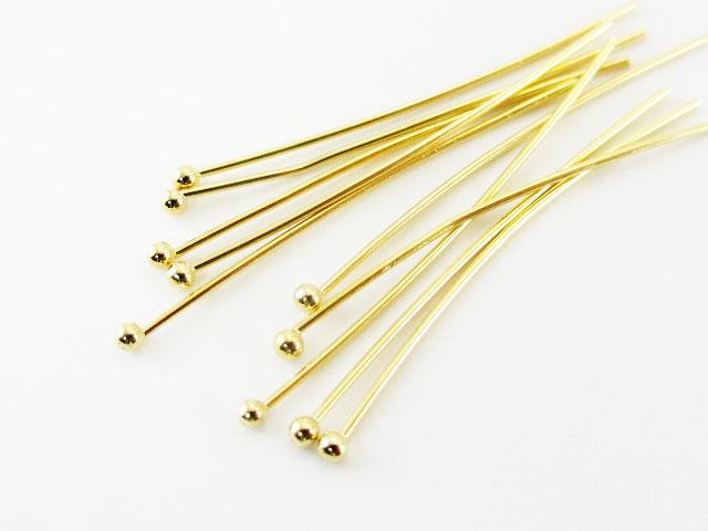 画像1: 【高品質】【10本入り】ボールピン【S】(1.6mm)/ゴールド(K16GP) (1)