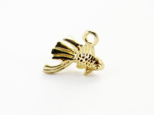画像1: チャーム/立体金魚【B】/ゴールド (1)