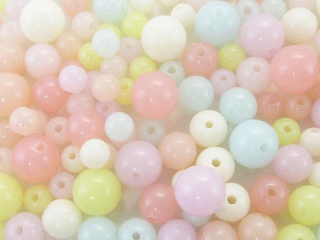 画像1: 【約30gり】樹脂ビーズ/パステル丸玉/3サイズMIX (1)