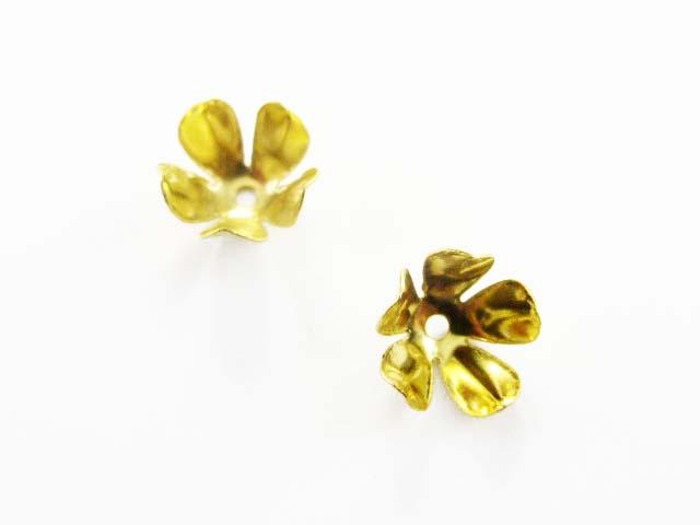 画像1: 【10個入り】ビーズキャップ/5弁花7.5mm/ゴールド (1)