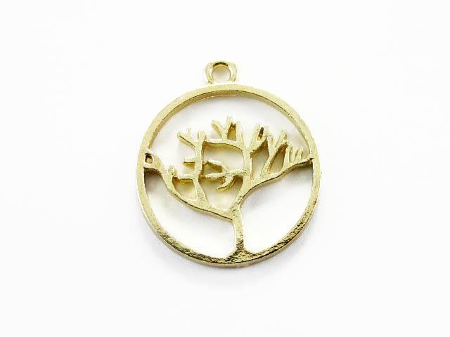 画像1: チャーム/透かしツリーメダル/ゴールド (1)