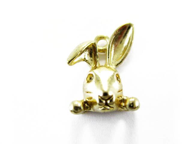画像1: チャーム/折れ耳ウサギ/ゴールド (1)