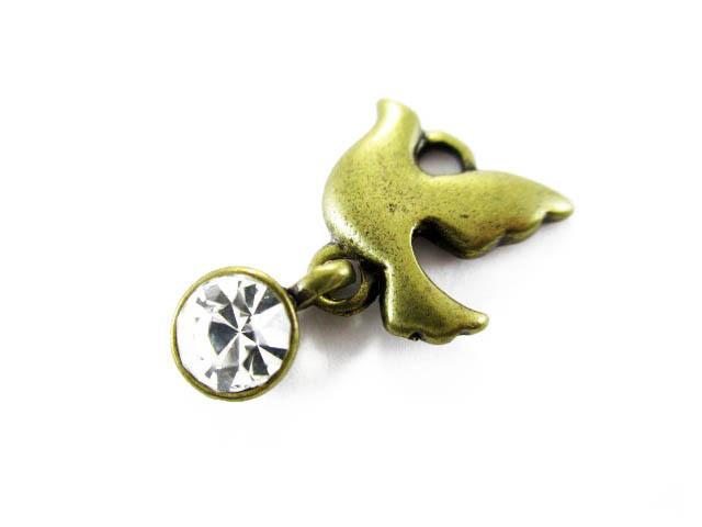 画像1: 【高品質】装飾チャーム/スウィングバード/真鍮古美 (1)