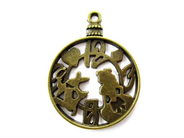 画像1: チャーム/アリスとウサギの懐中時計/真鍮古美 (1)