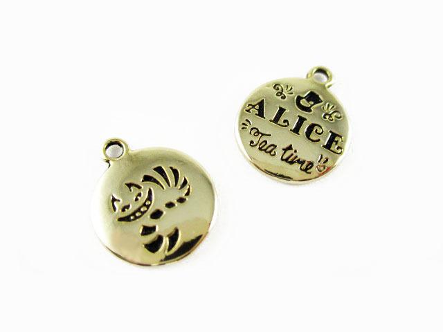 画像1: チャーム/Aliceとチェシャ猫の丸タグ/ゴールド(K16GP) (1)